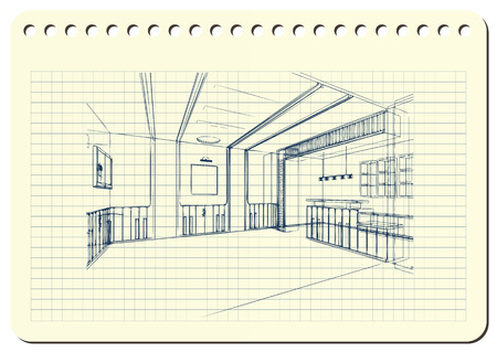 Graphic drawing with abstract interior. The diary sheet with the sketch.