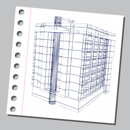 Graphic drawing with abstract architecture. The diary sheet with the sketch of modern building.