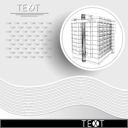 Graphic drawing with abstract architecture. Rounded template with sketch of the modern building. Çizim