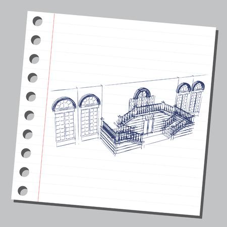Grafische tekening met abstracte architectuur. Het dagboekblad met de veranda van het historische huis.