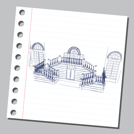 Graphic drawing with abstract architecture. The diary sheet with the porch of the historic house.