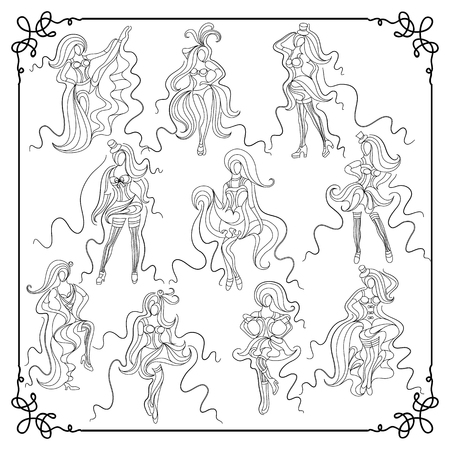 Women cabaret dancers-set  coloring book page. Suitable for invitation, flyer, sticker, poster, banner, card, label, cover. Vector illustration.