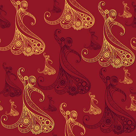 Seamless pattern   with abstract decorative Spanish girl dancing flamenco. Suitable for design: fabric, cloth, wallpaper, wrapping, packaging. Vector illustration.