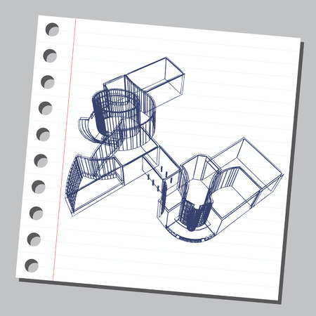 Graphic drawing with abstract architecture. The diary sheet with the sketch of modern building. Suitable for invitation, flyer, sticker, poster, banner, card, label, cover, web. Vector illustration. Vettoriali
