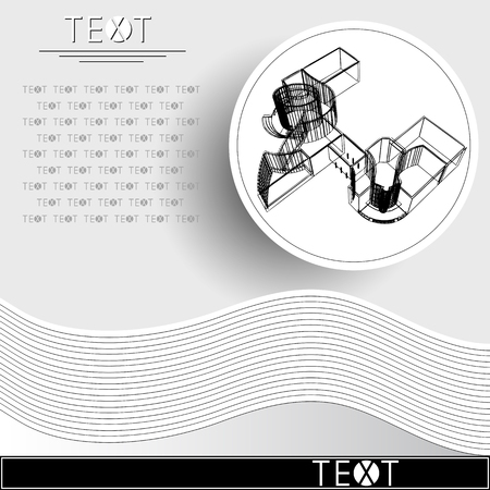 Graphic drawing with abstract architecture. Rounded template with sketch of the modern building. Suitable for invitation, flyer, sticker, poster, banner, card, label, cover, web. Vector illustration.
