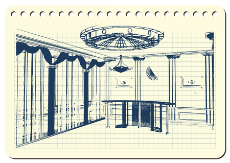 Graphic drawing with abstract interior of the banquet hall. The diary sheet with the sketch. Suitable for invitation, flyer, sticker, poster, banner, card, label, cover, web. Vector illustration.