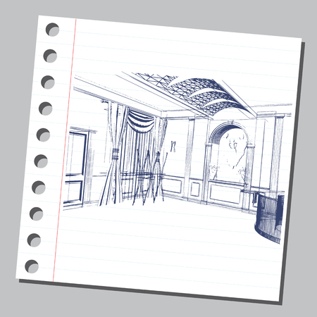 Graphic drawing with abstract interior of the hall. The diary sheet with the sketch. Suitable for invitation, flyer, sticker, poster, banner, card, label, cover, web. Vector illustration.