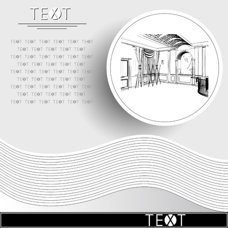 Graphic drawing with abstract interior of the hall. Rounded template with sketch. Suitable for invitation, flyer, sticker, poster, banner, card, label, cover, web. Vector illustration. Illustration