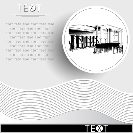 Graphic drawing with abstract interior. Rounded template with sketch of cafe (restaurant). Suitable for invitation, flyer, sticker, poster, banner, card, label, cover, web. Vector illustration.