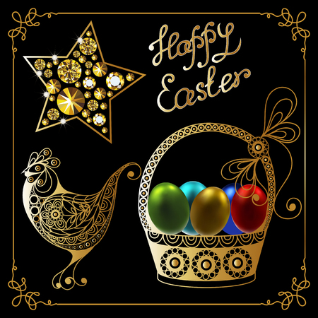 Graphic abstract decorative symbols of Easter holiday vector illustration