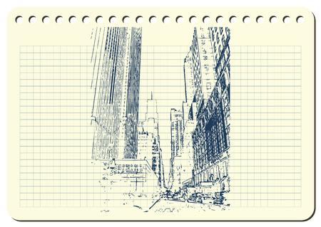 Sketch of New York city Vector illustration. Vettoriali