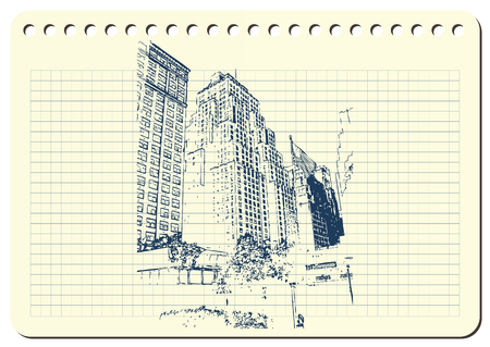Sketch of architectural building on columnar notebook. Ilustração