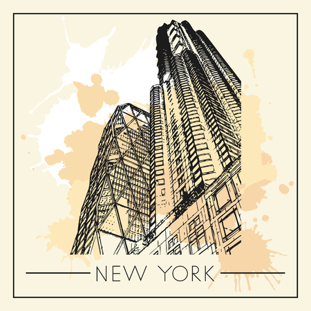 Sketch of New York city. Suitable for invitation, flyer, sticker, poster, banner, card, label, cover, web. Vector illustration.  イラスト・ベクター素材