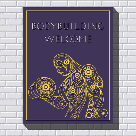 Graphic illustration of young bodybuilder man. Vector for sport club label, banner or poster design.