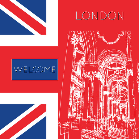 Sketch of London. Suitable for invitation, flyer, sticker, poster, banner, card, label, cover, web. Vector illustration. Stock Illustratie