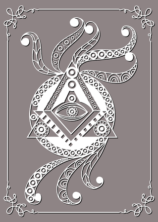 Graphic abstract design with occult symbol. Masonic (freemasonic) drawing. Suitable for invitation, flyer, sticker, poster, banner, card, label, cover, web. Vector illustration. Çizim