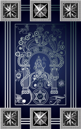 Graphic abstract design with occult tarot card. Major Arcana - The Hierophant . Suitable for invitation, flyer, sticker, poster, banner, card, label, cover, web. Vector illustration.
