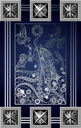 Graphic abstract design with occult tarot card. Major Arcana - The Hermit. Suitable for invitation, flyer, sticker, poster, banner, card, label, cover, web. Vector illustration. Illustration