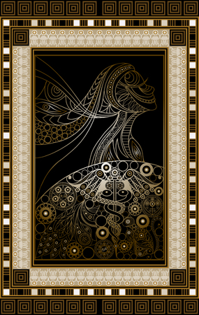 Graphic abstract design with occult tarot card. Minor Arcana - The Queen of Wands . Suitable for invitation, flyer, sticker, poster, banner, card, label, cover, web. Vector illustration. Ilustração