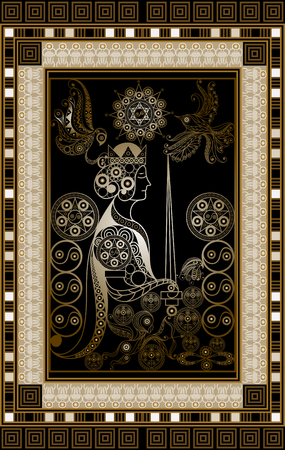 Graphic abstract design with occult tarot card. Minor Arcana - The Queen of Swords . Suitable for invitation, flyer, sticker, poster, banner, card, label, cover, web. Vector illustration. Illustration