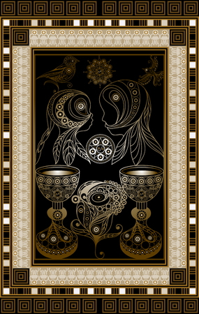 Graphic abstract design with occult tarot card. Minor Arcana - Two of Cups . Suitable for invitation, flyer, sticker, poster, banner, card, label, cover, web. Vector illustration. Stockfoto - 106231696