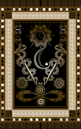 Graphic abstract design with occult tarot card. Minor Arcana - Two of Swords . Suitable for invitation, flyer, sticker, poster, banner, card, label, cover, web. Vector illustration.