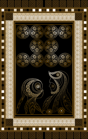 Graphic abstract design with occult tarot card. Minor Arcana - Ten of Pentacles . Suitable for invitation, flyer, sticker, poster, banner, card, label, cover, web. Vector illustration.