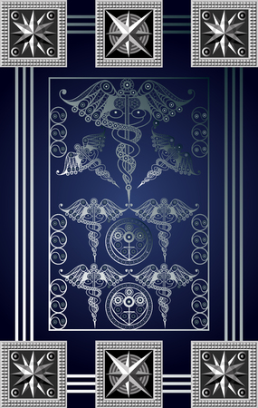 Graphic abstract design with occult tarot card. Minor Arcana - Seven of Wands. Suitable for invitation, flyer, sticker, poster, banner, card, label, cover, web. Vector illustration. Vectores