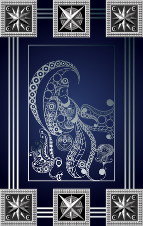 Graphic abstract design with occult tarot card. Minor Arcana - King of Cups . Suitable for invitation, flyer, sticker, poster, banner, card, label, cover, web. Vector illustration. Vectores
