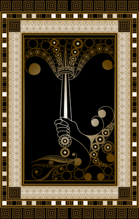 Graphic abstract design with occult tarot card. Minor Arcana - Ace of Swords . Suitable for invitation, flyer, sticker, poster, banner, card, label, cover, web. Vector illustration.