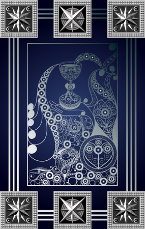 Graphic abstract design with occult tarot card. Minor Arcana - Ace of Cups . Suitable for invitation, flyer, sticker, poster, banner, card, label, cover, web. Vector illustration.