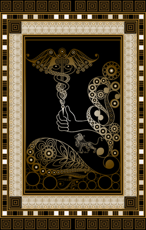 Graphic abstract design with occult tarot card. Minor Arcana - Ace of wands. Suitable for invitation, flyer, sticker, poster, banner, card, label, cover, web. Vector illustration.