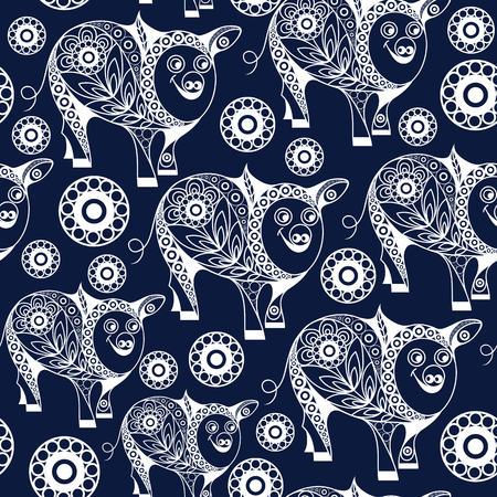 Seamless abstract background with earth pig (swine), symbol of 2019. Texture (pattern) for textile, wallpapers, print, wrapping, scrapbooking, book cover, cloth. New year design. Vector illustration.