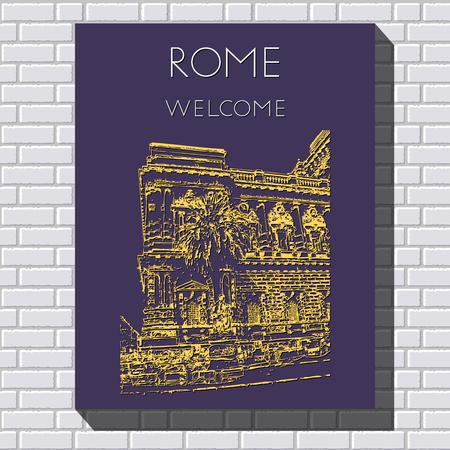 Sketch of Rome. Suitable for invitation, flyer, sticker, poster, banner, card, label, cover, web. Vector illustration. Standard-Bild - 127138611