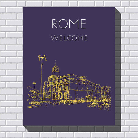 Sketch of Rome. Suitable for invitation, flyer, sticker, poster, banner, card, label, cover, web. Vector illustration. Standard-Bild - 127138612