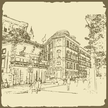 Sketch of Rome. Suitable for invitation, flyer, sticker, poster, banner, card, label, cover, web. Vector illustration. Ilustração Vetorial