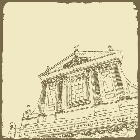 Sketch of Rome. Suitable for invitation, flyer, sticker, poster, banner, card, label, cover, web. Vector illustration. Standard-Bild - 127138616