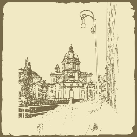 Sketch of Rome. Suitable for invitation, flyer, sticker, poster, banner, card, label, cover, web. Vector illustration. Standard-Bild - 127138618