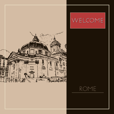 Sketch of Rome. Suitable for invitation, flyer, sticker, poster, banner, card, label, cover, web. Vector illustration. Standard-Bild - 127138621
