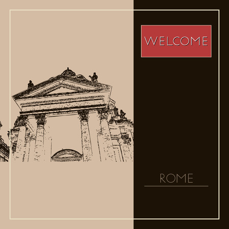 Sketch of Rome. Suitable for invitation, flyer, sticker, poster, banner, card, label, cover, web. Vector illustration. Standard-Bild - 127138622