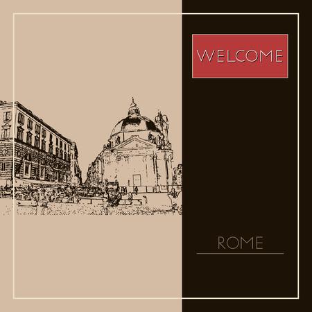 Sketch of Rome. Suitable for invitation, flyer, sticker, poster, banner, card, label, cover, web. Vector illustration. Standard-Bild - 127138624