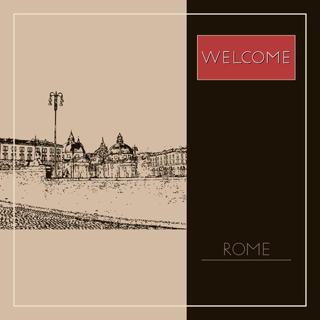 Sketch of Rome. Suitable for invitation, flyer, sticker, poster, banner, card, label, cover, web. Vector illustration. Standard-Bild - 127138626