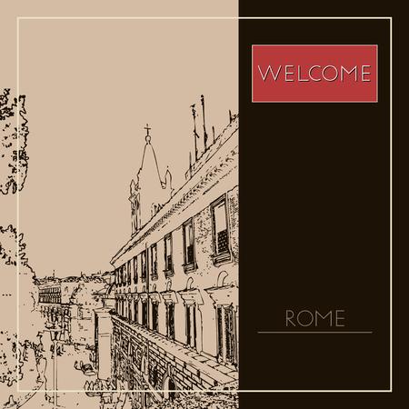 Sketch of Rome. Suitable for invitation, flyer, sticker, poster, banner, card, label, cover, web. Vector illustration. Standard-Bild - 127138628