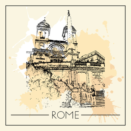 Sketch of Rome. Suitable for invitation, flyer, sticker, poster, banner, card, label, cover, web. Vector illustration. Standard-Bild - 127138630