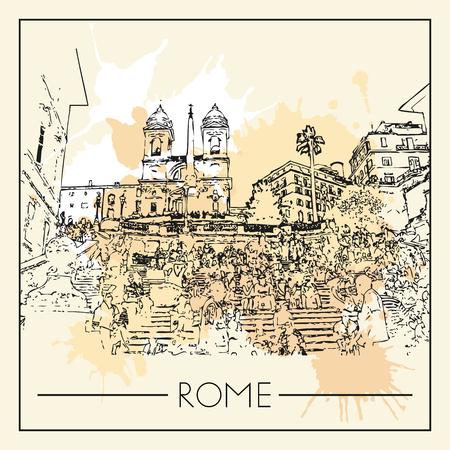 Sketch of Rome. Suitable for invitation, flyer, sticker, poster, banner, card, label, cover, web. Vector illustration. Standard-Bild - 127138631