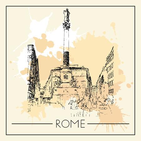 Sketch of Rome. Suitable for invitation, flyer, sticker, poster, banner, card, label, cover, web. Vector illustration. Standard-Bild - 127138632