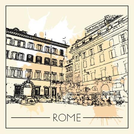 Sketch of Rome. Suitable for invitation, flyer, sticker, poster, banner, card, label, cover, web. Vector illustration. Standard-Bild - 127138633