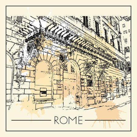 Sketch of Rome. Suitable for invitation, flyer, sticker, poster, banner, card, label, cover, web. Vector illustration. Standard-Bild - 127138634