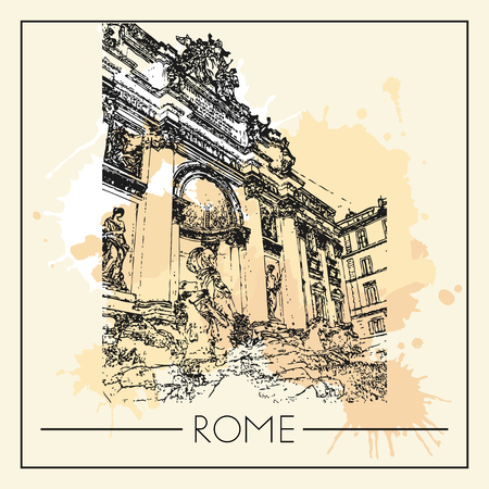 Sketch of Rome. Suitable for invitation, flyer, sticker, poster, banner, card, label, cover, web. Vector illustration. Standard-Bild - 127138635