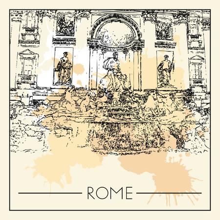 Sketch of Rome. Suitable for invitation, flyer, sticker, poster, banner, card, label, cover, web. Vector illustration. Standard-Bild - 127138638